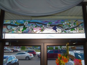 "Dogwoood-and-Birds-Transom - 72"" x 13"" Retail: $2500, Sale: $1375"