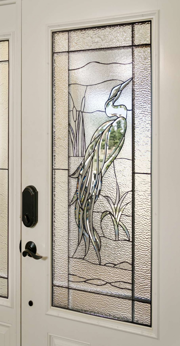 Bird Heron Ross Entry closeup & Decorative Glass Solutions - Custom Stained Glass u0026 Custom Leaded ...